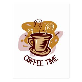 """Funny steaming hot mug saying """"Coffee Time""""! Postcard"""