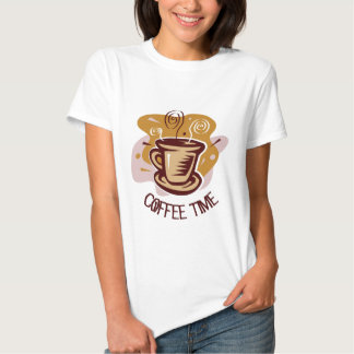 "Funny steaming hot mug saying ""Coffee Time""! T-shirt"