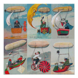 funny steampunk air machines wacky inventions posters