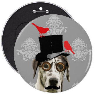 Funny steampunk dog pinback buttons