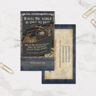 Funny Steampunk Flying Machine Business Card