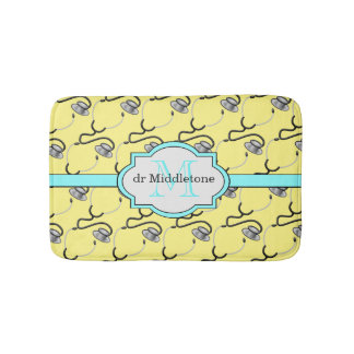 Funny stethoscopes for doctors on yellow name bath mat