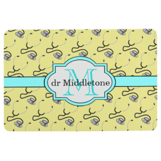 Funny stethoscopes for doctors on yellow name floor mat