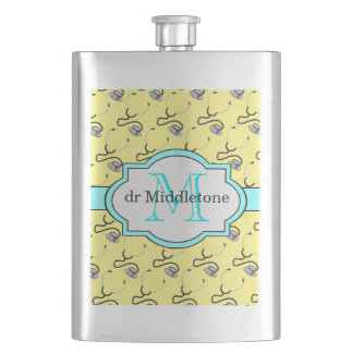 Funny stethoscopes for doctors on yellow name hip flask
