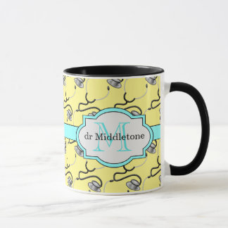 Funny stethoscopes for doctors on yellow name mug