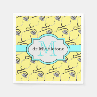 Funny stethoscopes for doctors on yellow name paper napkins