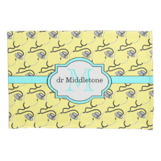 Funny stethoscopes for doctors on yellow name pillowcase