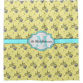 Funny stethoscopes for doctors on yellow name shower curtain