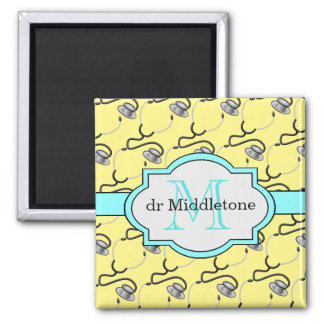 Funny stethoscopes for doctors on yellow name square magnet