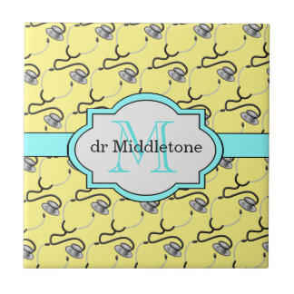 Funny stethoscopes for doctors on yellow name tile