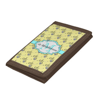 Funny stethoscopes for doctors on yellow name tri-fold wallets