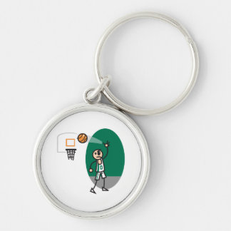 funny stick figure playing basketball key chains