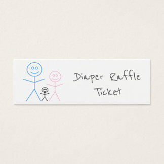 Funny Stickman Family Drawing Diaper Raffle Ticket