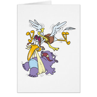funny stork delivering baby hippo card