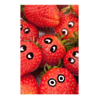 Funny strawberries. stationery design