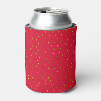 Funny strawberry background red can cooler