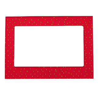 Funny strawberry background red magnetic picture frame