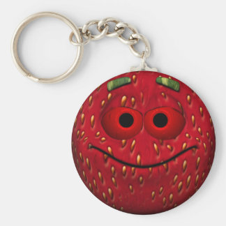 Funny Strawberry Smiley Key Ring