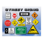 Funny Street (Road) Signs Postcards