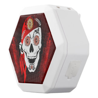 Funny suger skull with red headscarf white boombot rex bluetooth speaker