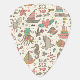 Funny Summer Pattern With Ships Plectrum