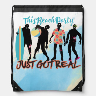 Funny summer zombie beach party just got real drawstring bag