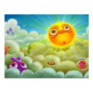 Funny Sun and Creatures Cartoon Postcard