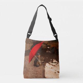 Funny Sun Smart Meerkat Under Umbrella, Crossbody Bag