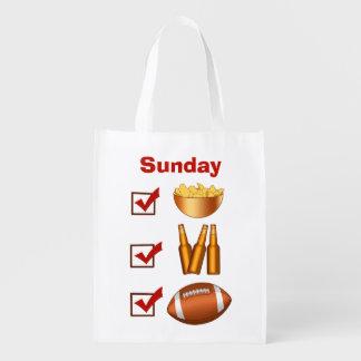 Funny Sunday Football Checklist Reusable Grocery Bag