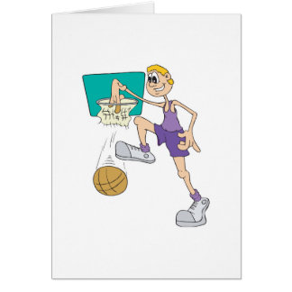 funny super tall basketball player making dunk card