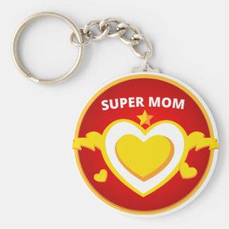 Funny Superhero Flash Mom emblem Key Ring