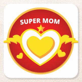 Funny Superhero Flash Mom emblem Square Paper Coaster