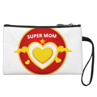 Funny Superhero Flash Mom emblem Wristlet
