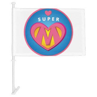 Funny Superhero Superwoman Mom emblem Car Flag