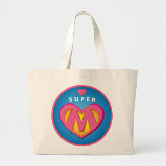 Funny Superhero Superwoman Mom emblem Large Tote Bag