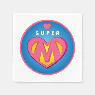 Funny Superhero Superwoman Mom emblem Paper Napkin