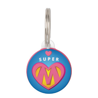 Funny Superhero Superwoman Mom emblem Pet Name Tag