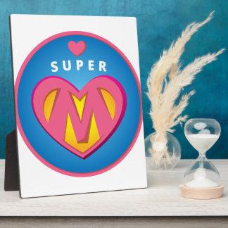 Funny Superhero Superwoman Mom emblem Photo Plaques