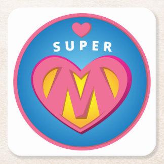 Funny Superhero Superwoman Mom emblem Square Paper Coaster
