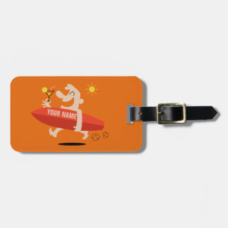 Funny Surfer with Cocktail custom luggage tag