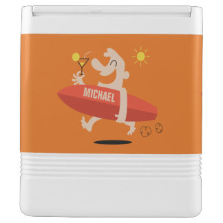Funny Surfer with Cocktail custom name cooler