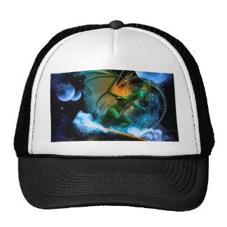 Funny surfing dragon mesh hat