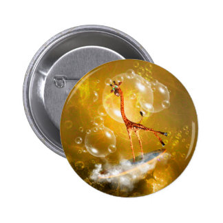Funny surfing giraffe with wave and bubbles 6 cm round badge