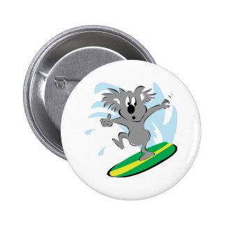 funny surfing koala bear 6 cm round badge