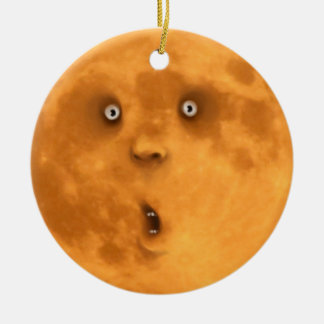 Funny Surprised Full Moon Face Ornament