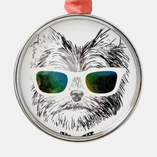 Funny Swag Dog Puppy Silver-Colored Round Decoration