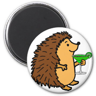 Funny Sweet Hedgehog Drinking Margarita Cartoon Magnet