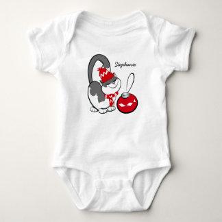 Funny Sweet Kitty Custom Baby's Name Bodysuits