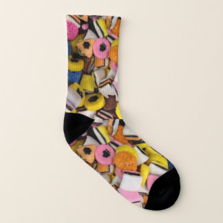 funny sweet tooth vintage liquorice candy socks