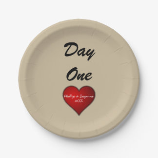Funny Sweet Wedding Red Heart with Names/Year Paper Plate